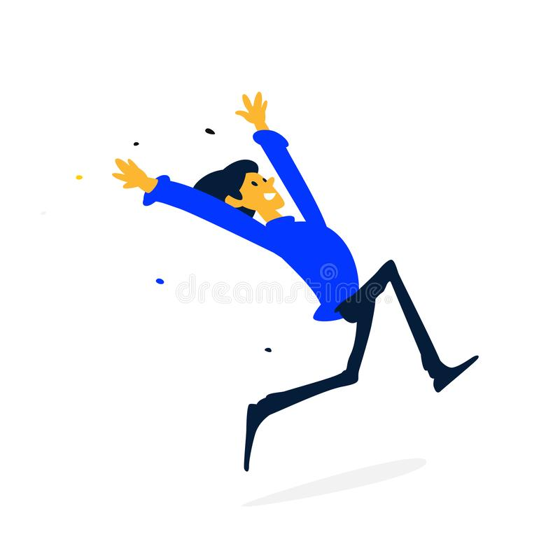 Illustration of a cheerful man running. Vector. Cartoon flat style. Character businessman in a blue sweatshirt. Fitness, sport. vector illustration