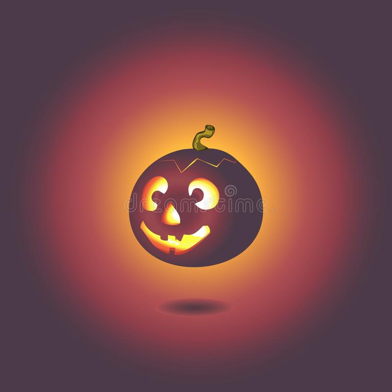 Illustration of a funny round pumpkin with a twig for the holiday of Halloween, a funny children`s drawing for the holiday to vector illustration
