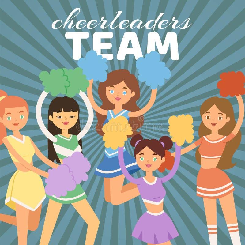 Illustration Cheerleading de vecteur d'équipe Filles de majorette avec des pompons Danse pour soutenir l'équipe de football penda illustration de vecteur
