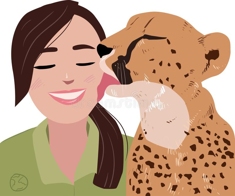 Illustration of a cheetah and a girl royalty free stock images