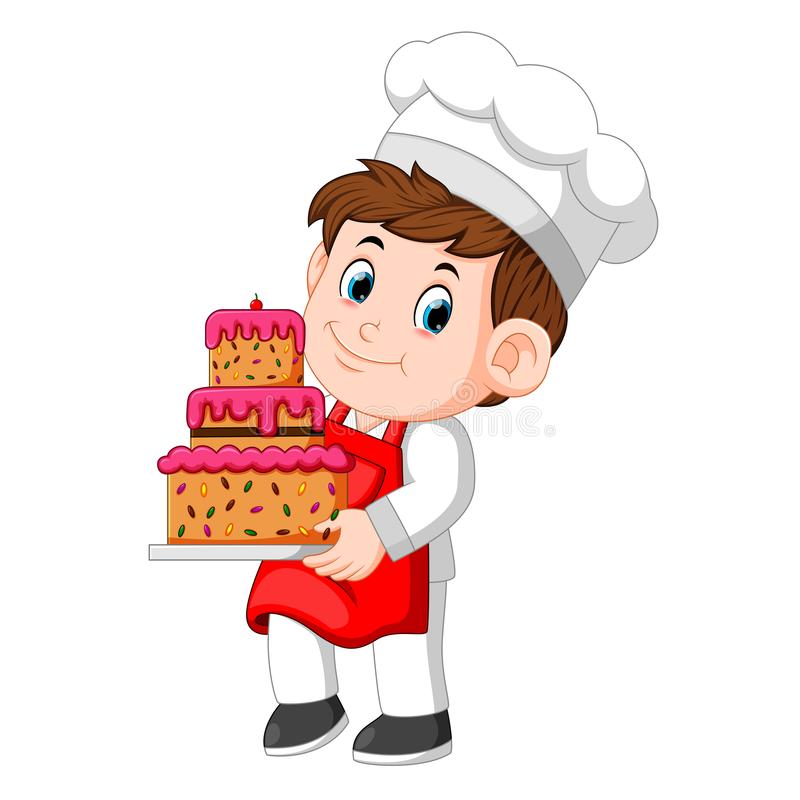 Chef holding a plate with a delicious cake. Illustration of Chef holding a plate with a delicious cake stock illustration
