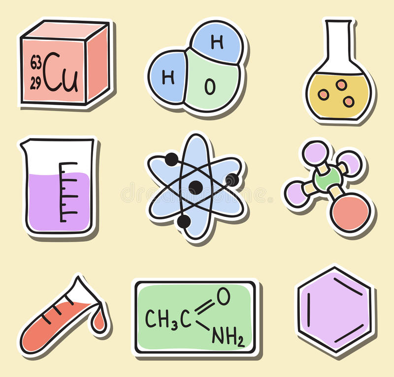 Illustration of chemistry icons - stickers stock illustration