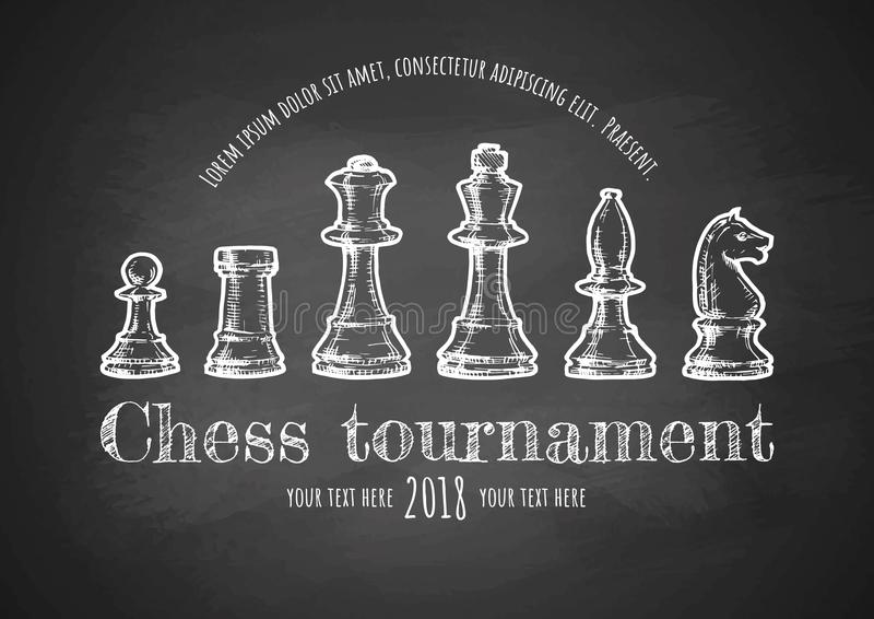 Illustration of Chess. Chess tournament poster. Vector hand drawn illustration on chalkboard. Template in vintage style royalty free illustration