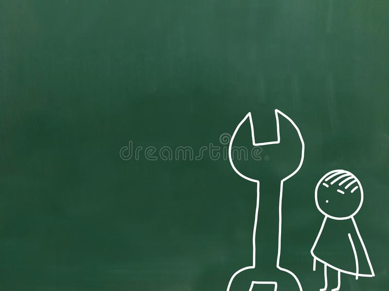 Illustration of child labour an green chalkboard. vector illustration