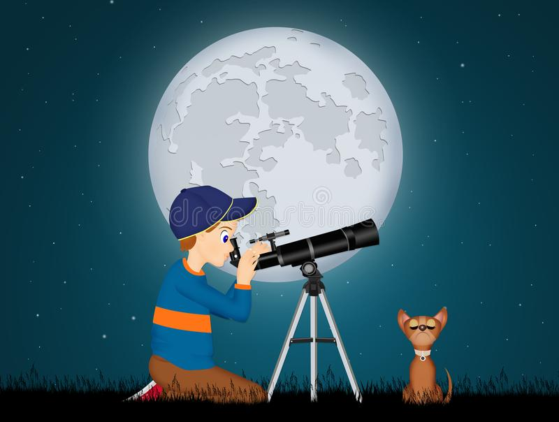 Child look in the telescope. Illustration of child look in the telescope stock illustration
