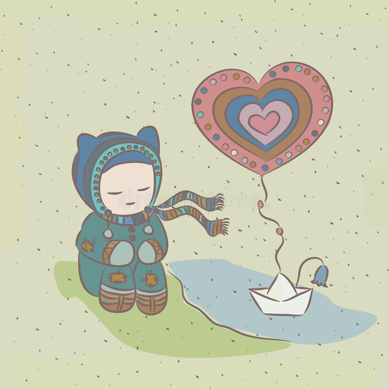 Illustration with child and a paper boat floating. On the river, and heart stock illustration