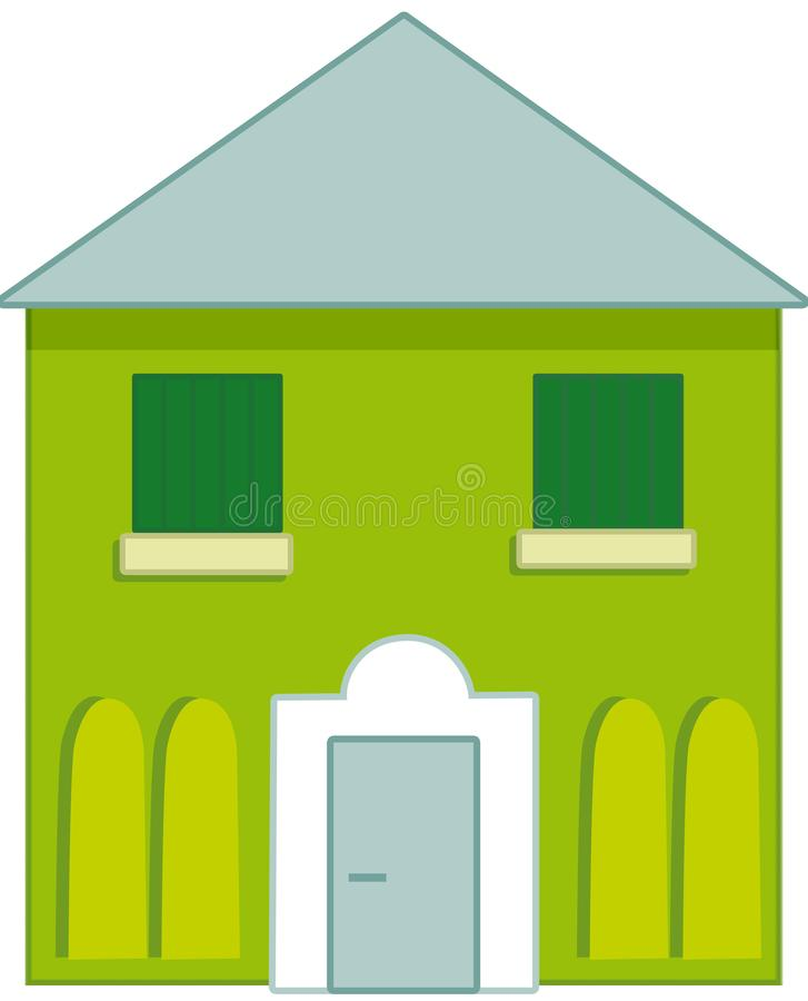 Typical green and blue house royalty free illustration