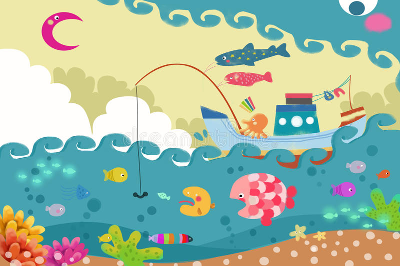 Illustration for Children: The Big Wave Monster is Chasing a Fishing Ship. Realistic Fantastic Cartoon Style Artwork vector illustration