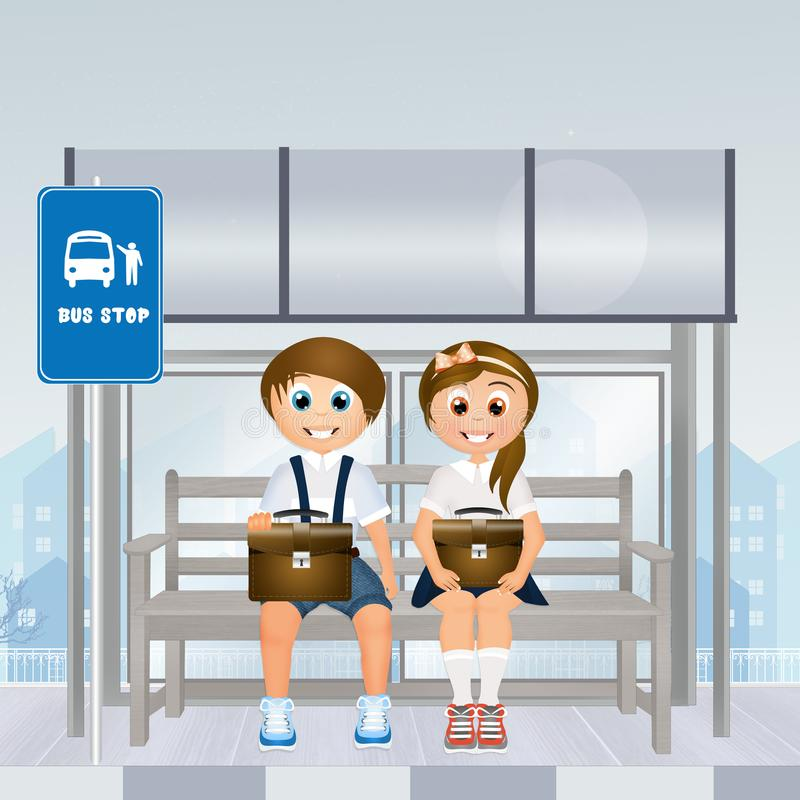 Children at the bus stop vector illustration