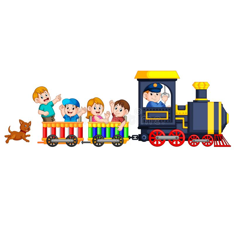 The children and engineer of locomotive get into the train and the dog follow them at the back stock illustration