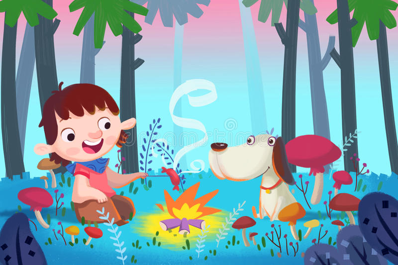 Illustration For Children: Forest Barbecue With Best Friends. Stock