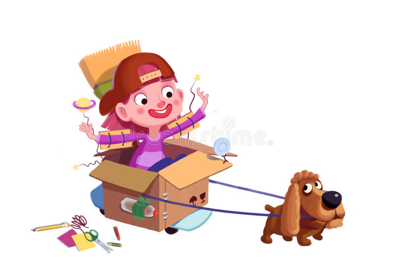 Illustration for Children: Little Dog, We are in Space now! A Boy's Fancy. stock illustration