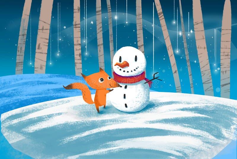 Illustration for Children: Little Fox and Snow Man stock illustration