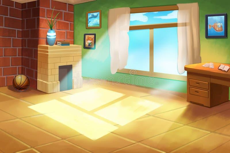Illustration For Children: Little Kid(boy or girl)'s Room. royalty free illustration