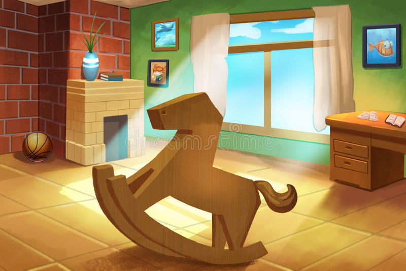 Download Illustration For Children: Little Kidsu0027 Room With A Wooden Horse  Rocking Chair.