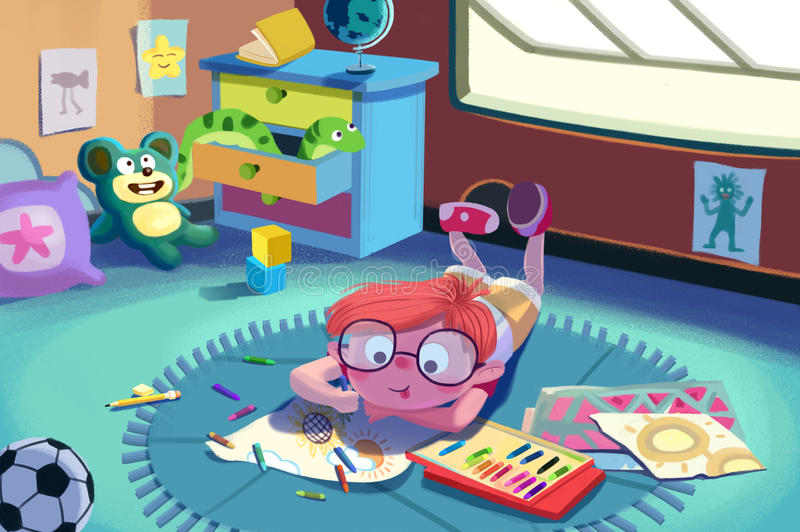 Illustration For Children: The Little Painter is Painting on the Ground. Realistic Fantastic Cartoon Style Artwork Scene, Wallpaper, Story Background, Card royalty free illustration