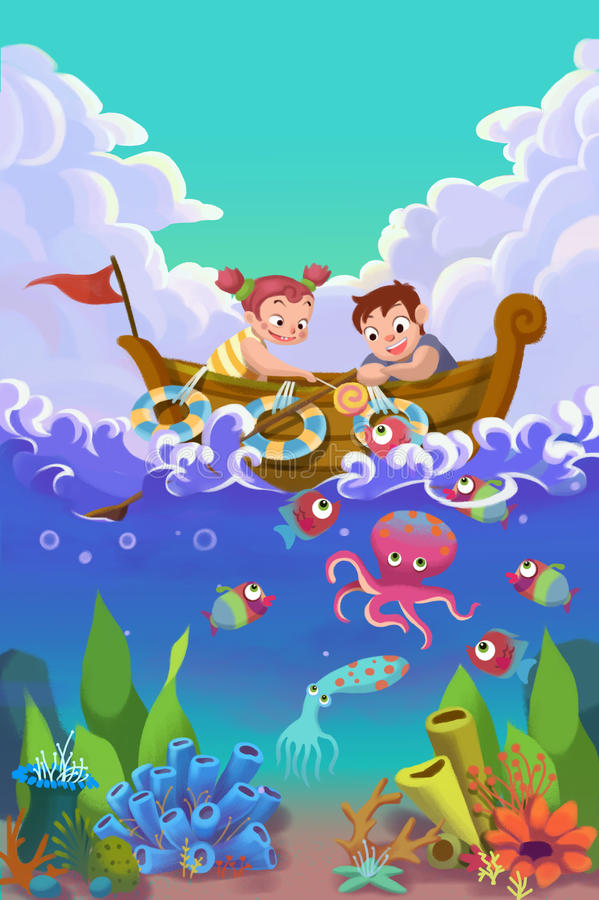 Illustration for Children: The Little Sister and Brother Feeding with Fishes on a Small Boat on the Sea. Realistic Fantastic Cartoon Style Story / Scene / stock illustration