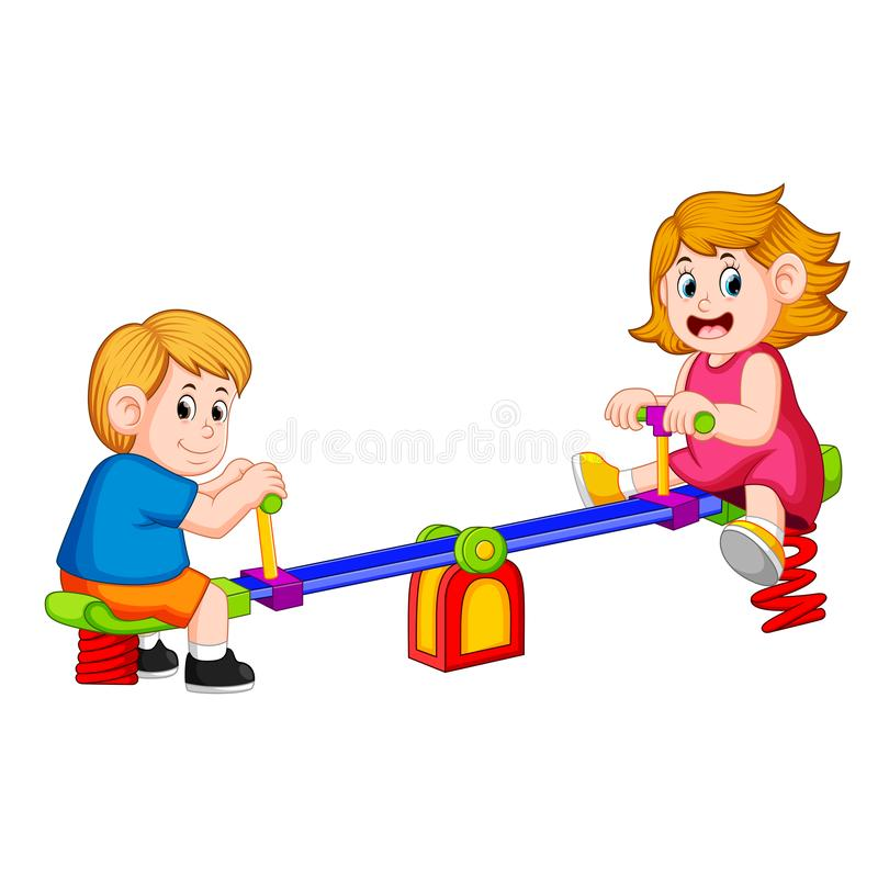 Children play see saw with pleasure. Illustration of children play see saw with pleasure royalty free illustration