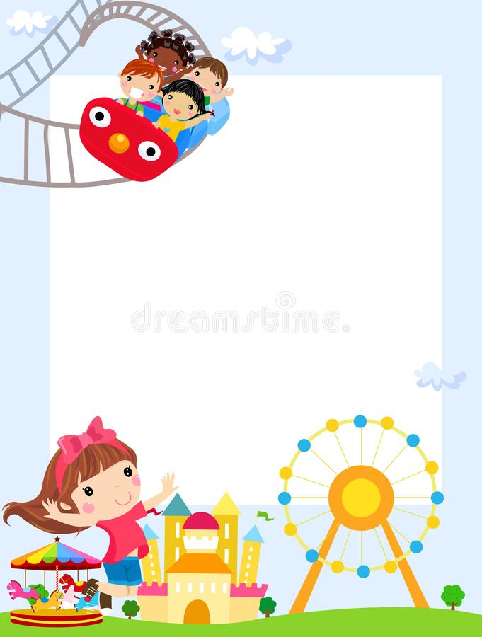 Children playing and banner vector illustration