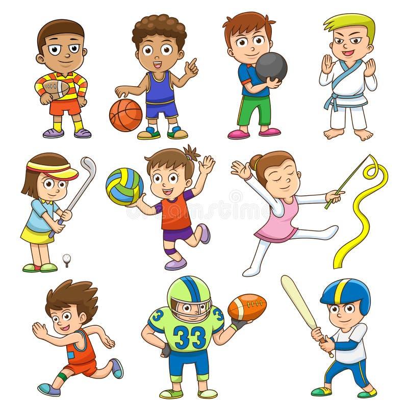 Illustration of children playing different sports. stock illustration