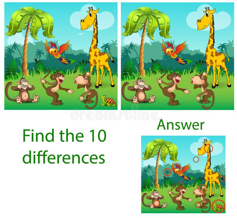 Illustration of children. The visual puzzle reveals ten differences with the beasts of a turtle, a parrot of monkeys and. A giraffe in the jungle royalty free illustration