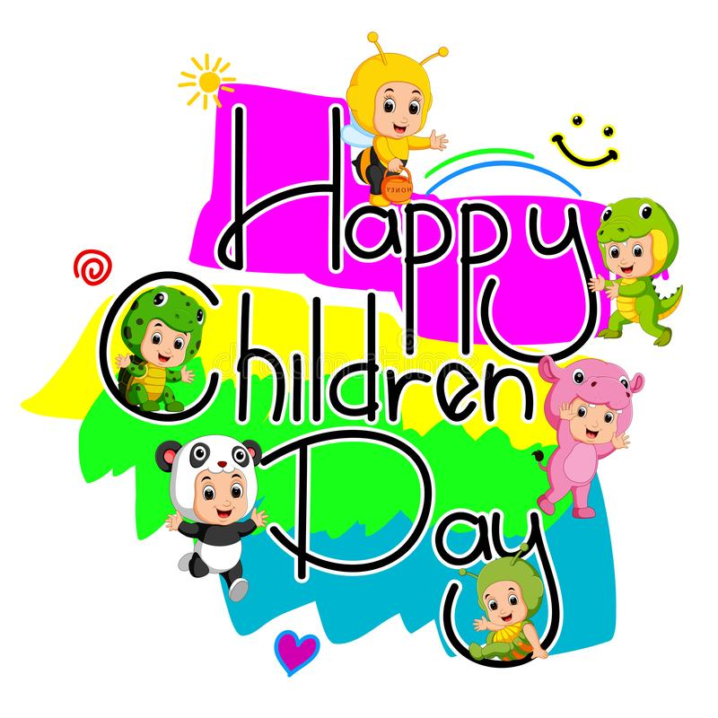 Children wear animal costumes to commemorate children`s day. Illustration of children wear animal costumes to commemorate children`s day royalty free illustration