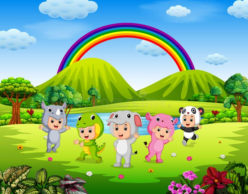 The children wearing animal costumes in outdoor. Illustration of The children wearing animal costumes in outdoor royalty free illustration