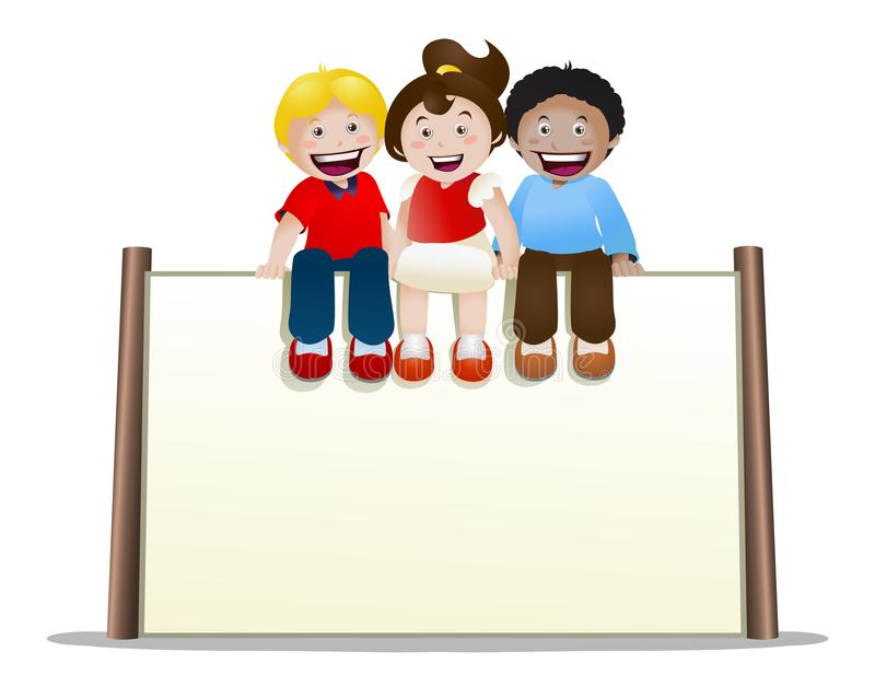 Childrens sit on top of blank banner sign on isolated. Illustration of childrens sit on top of blank banner sign on isolated white background stock illustration