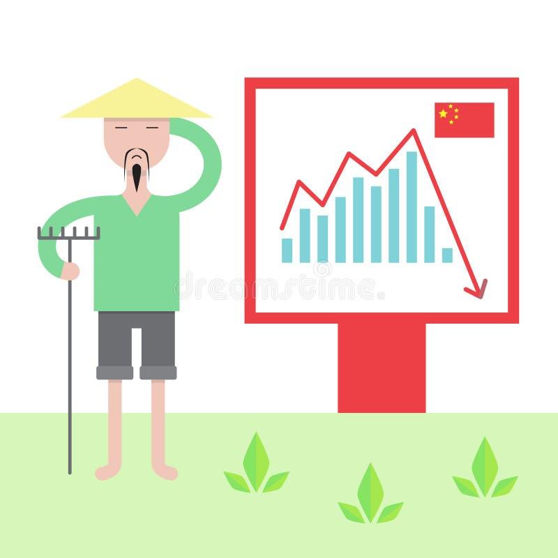 Illustration Of Chinese Economy Crysis. Stock Illustration