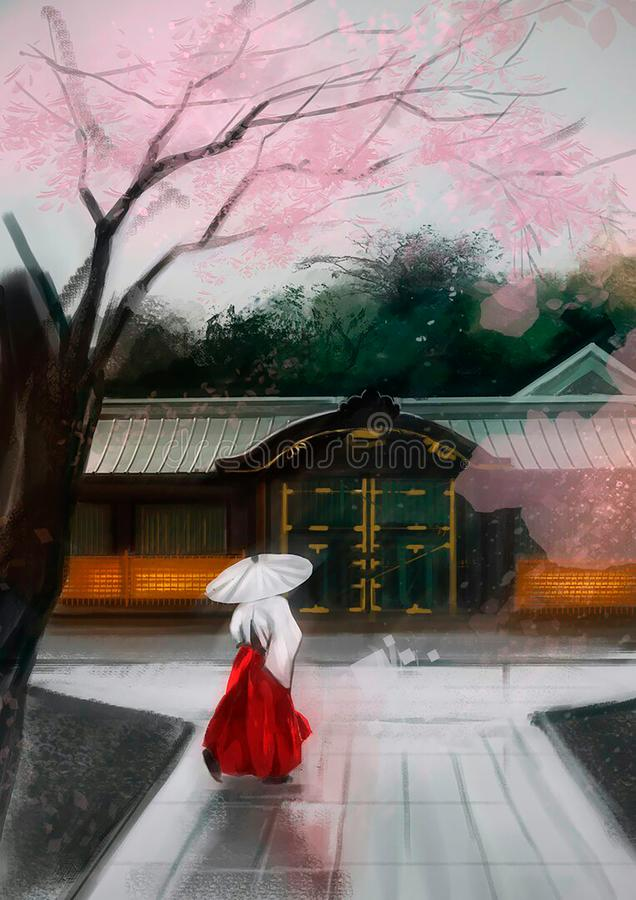 Illustration of a Chinese woman near the house royalty free illustration