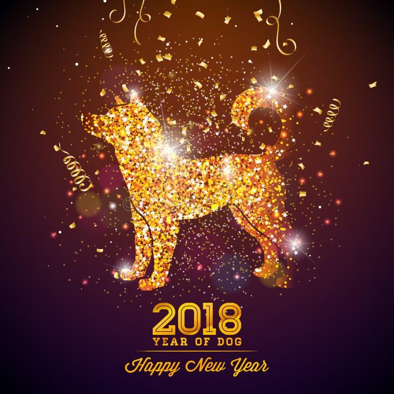 Illustration 2018 Chinesischen Neujahrsfests mit hellem Symbol auf glänzendem Feier-Hintergrund Jahr des Hundevektor-Designs lizenzfreie abbildung