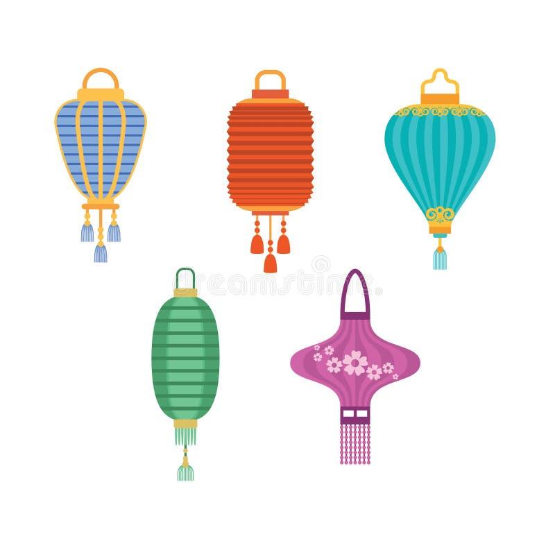 Illustration chinoise de vecteur de lanternes illustration de vecteur
