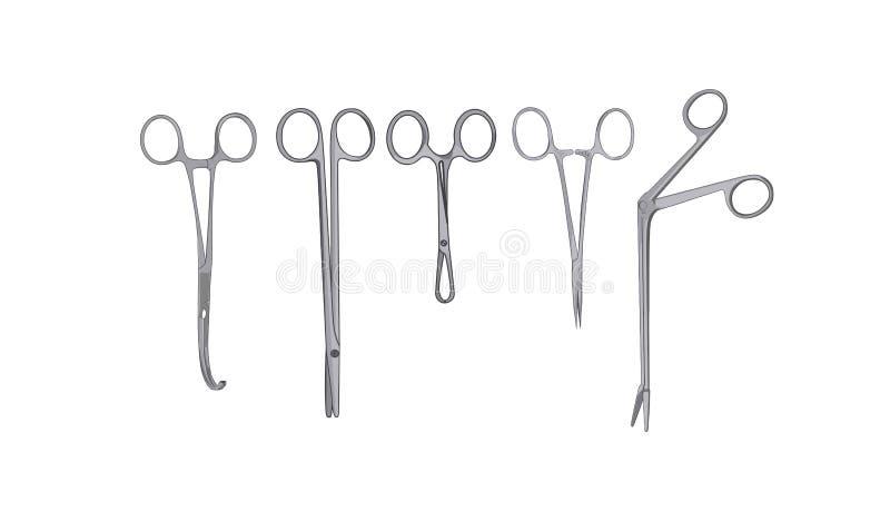 Illustration chirurgicale en acier de vecteur d'outils illustration de vecteur
