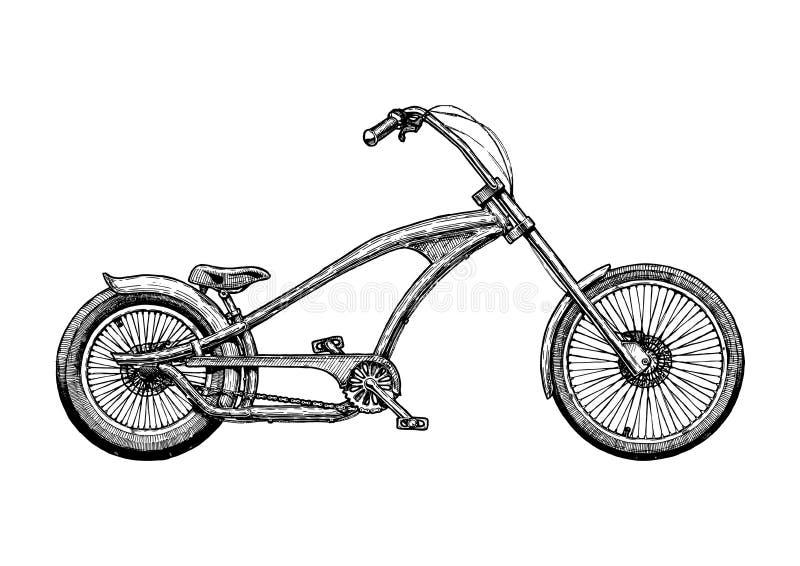 Illustration of chopper bicycle royalty free illustration