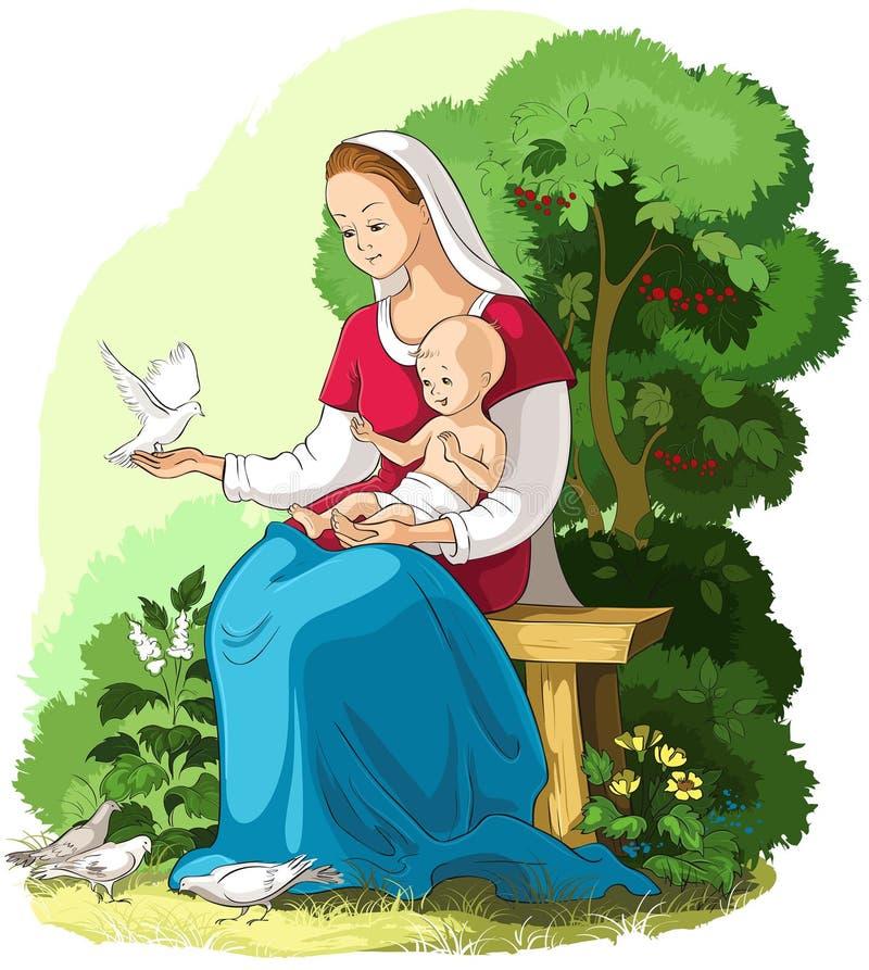 Illustration chrétienne de bande dessinée de vecteur de Jésus de bébé de participation de Mary de mère illustration libre de droits