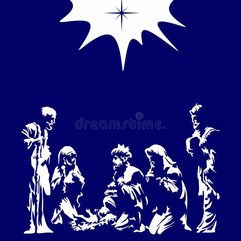 Illustration chrétienne Scène de nativité Joyeux Noël illustration stock