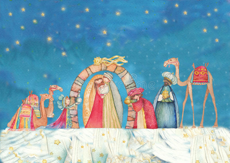 Illustration of Christian Christmas Nativity scene with the three wise men. Watercolor vector illustration