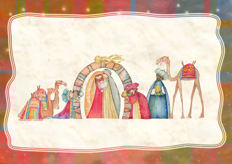 Illustration of Christian Christmas Nativity scene with the three wise men. Watercolor royalty free illustration