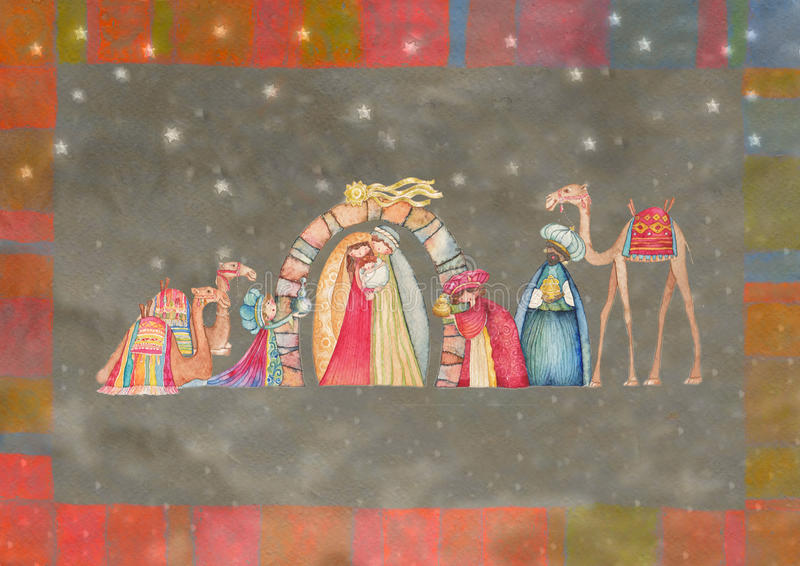 Illustration of Christian Christmas Nativity scene with the three wise men. Watercolor stock illustration