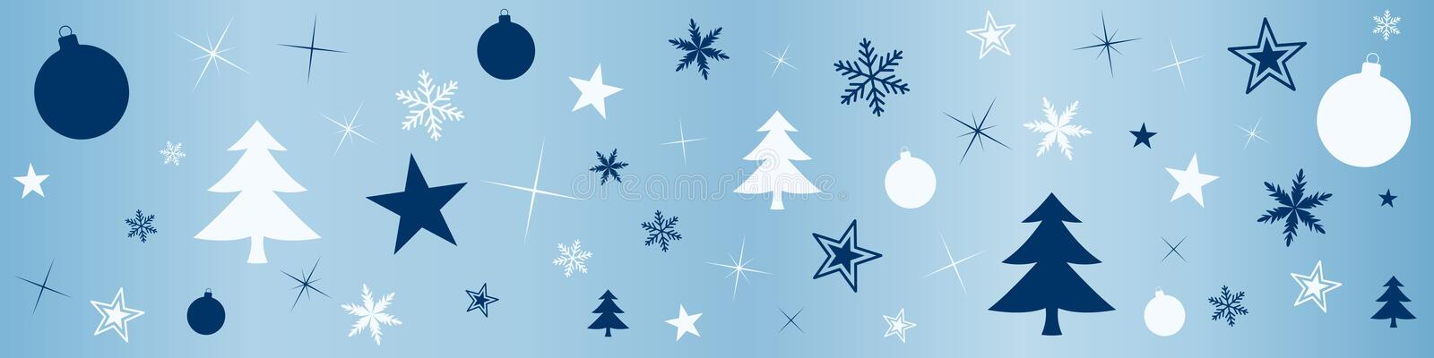 Illustration with Christmas balls and various festive ornaments stock illustration