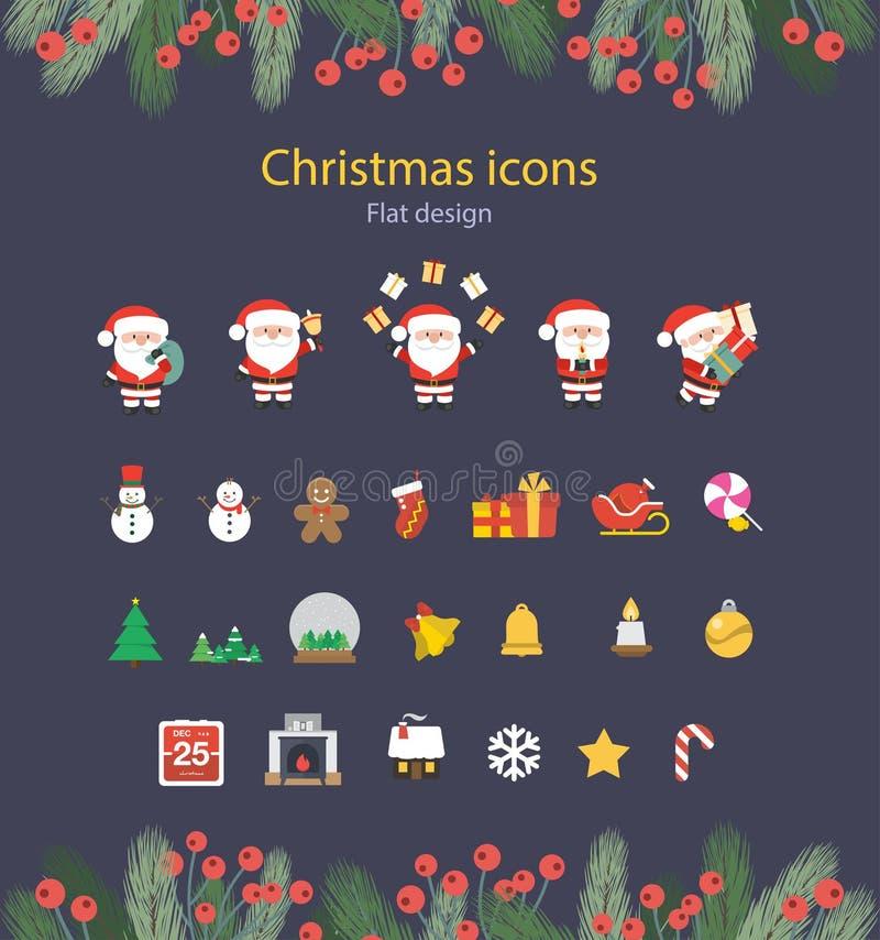 Illustration of Christmas Flat Icons Set. vector illustration