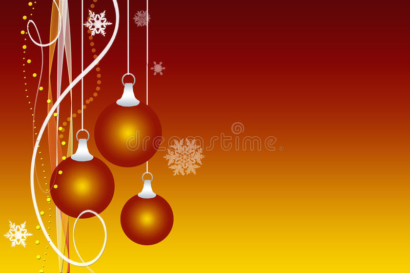Illustration of Christmas ornaments. Beautiful orange, yellow and gold Christmas ornaments and snowflakes with streamers and ribbons on gradient background vector illustration