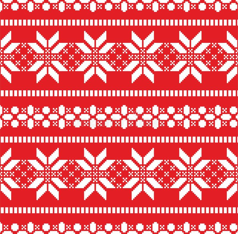Illustration of Christmas pattern with white snowflakes on red background. New year seamless print for paper or fabric. Sweater te. Xture stock illustration