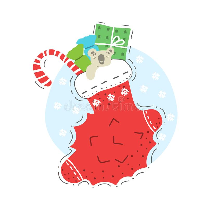 Illustration of a christmas sock filled with gifts stock photos