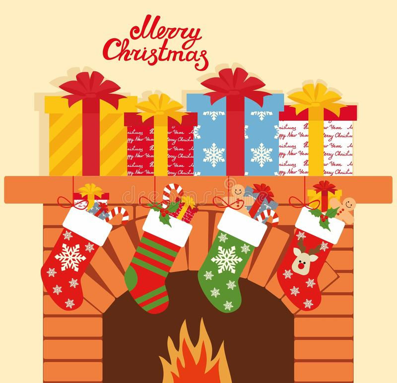 Illustration of Christmas socks with gifts on the background of the fireplace. Christmas background with gifts vector illustration