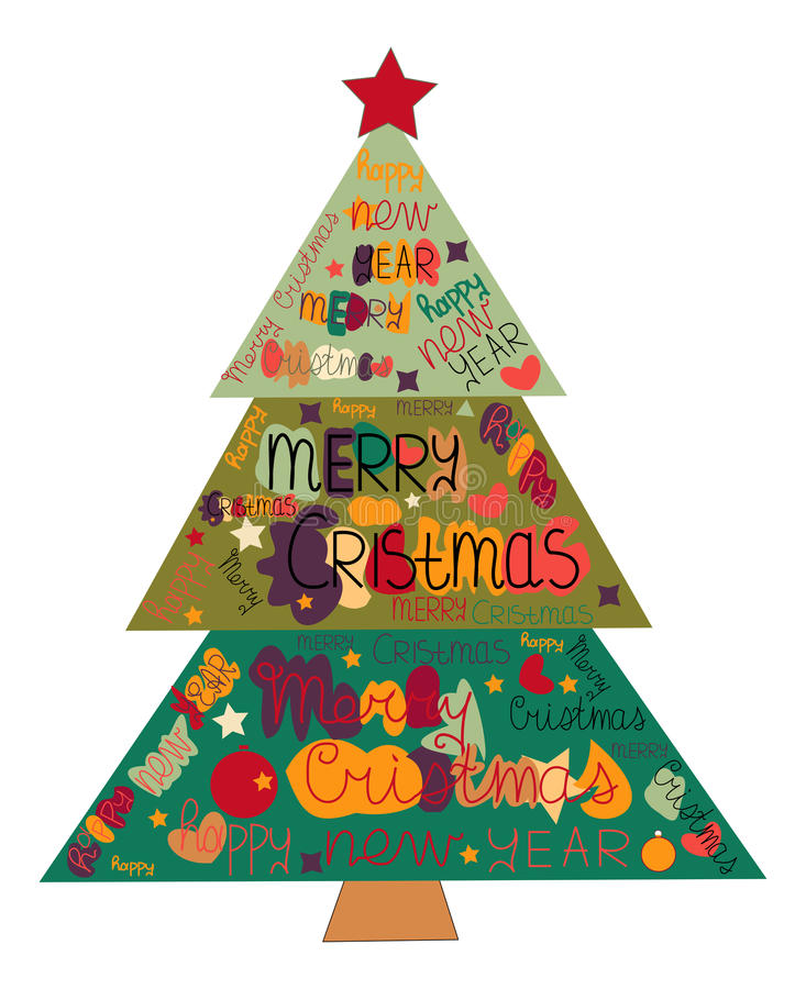 Illustration Christmas tree made with the words and the words Ha. Ppy New Year and Merry Christmas vector illustration