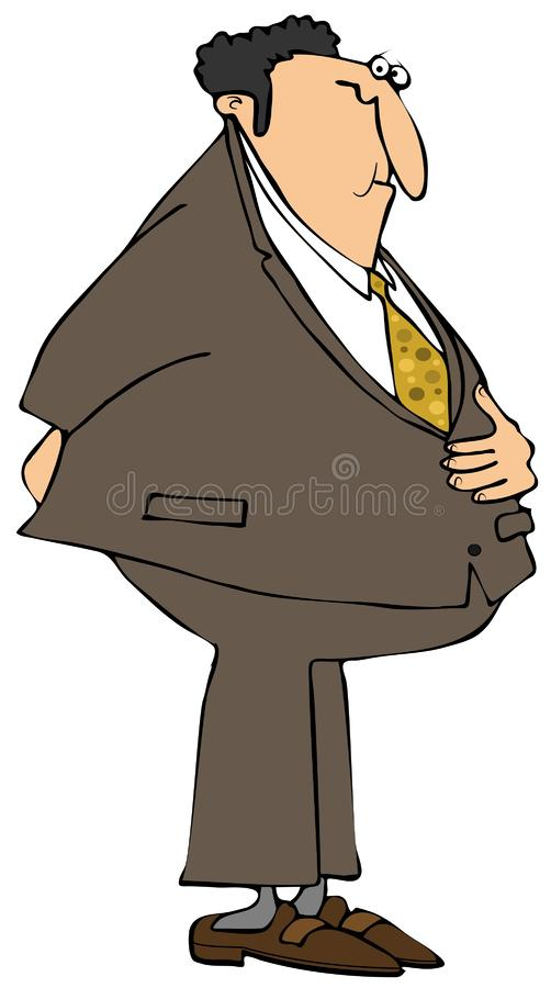 Chubby businessman needs to go to the bathroom vector illustration