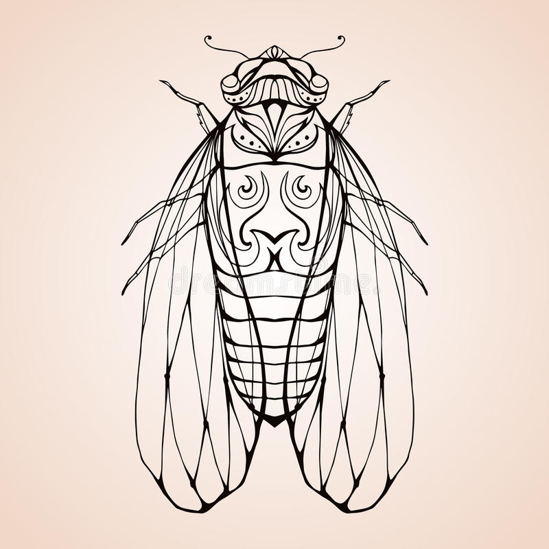 Illustration cicada with boho pattern. Vector element for coloring prints, for T-shirts, tattoos and a sketch for your creativity stock illustration