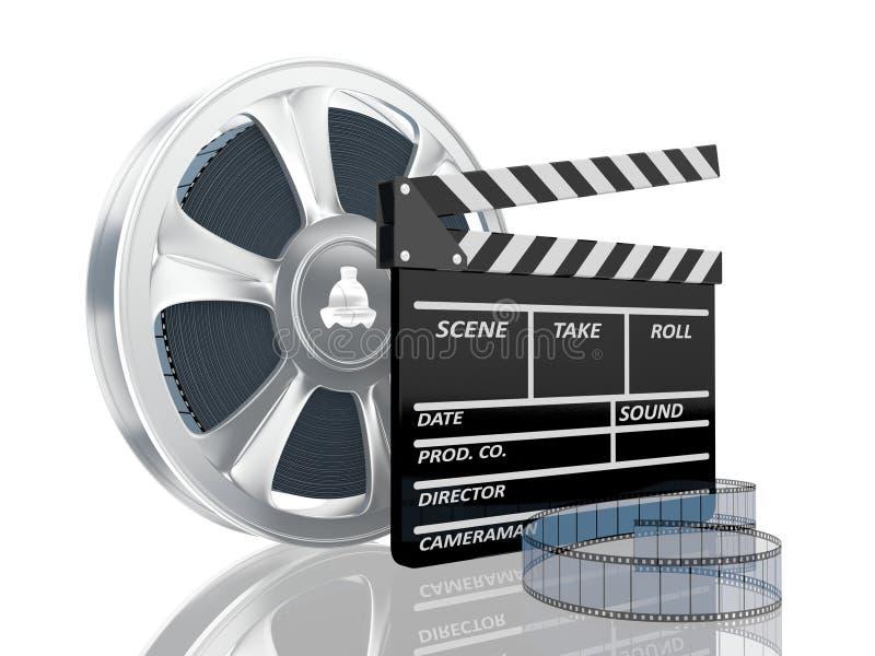 Illustration of cinema clap and film reel, over. 3d illustration of cinema clap and film reel, over white background stock illustration