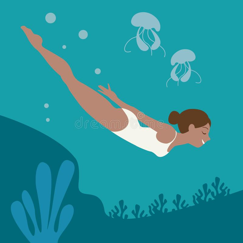 Girl is floating under the water ector vector illustration